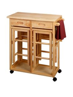 Luxury Home Space Saver Drop Leaf Table with 2 Square Stools, Beech. This breakfast bar set is ideal for small dining areas. Set includes a natural-finished beechwood table with drop leaf and wheels, storage for 2 stools and a towel rack. Also includes 2 square stools with a natural finish.                                                                                                                                                      More