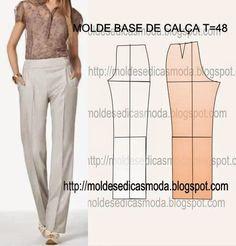 MOLDE BASE DE CALÇA TAMANHO 48 - Moldes Moda por Medida