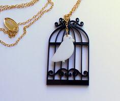 Birdcage Necklace,Plexiglass Jewelry,Lasercut Acrylic,Gifts Under 25