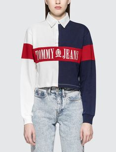90S Cropped Rugby Sweatshirt