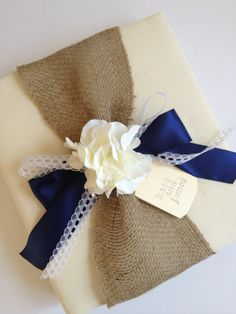 Custom Rustic Wedding Album, Large - White Hydrangeas, Burlap, Navy Ribbon Or Your Choice of Color, Lace Bow - Tag, Bride and Groom's Names