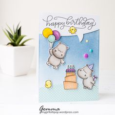 """By Gemma. Stamps from """"Happy Hippos"""" by My Favorite Things."""