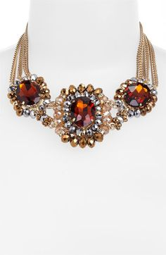 Cara Accessories Multi Stone Statement Necklace