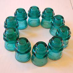 Vintage Aqua Glass Insulators Hemingray