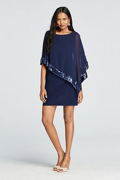 Caplet Short Jersey Dress with Sequin Trim XS6150