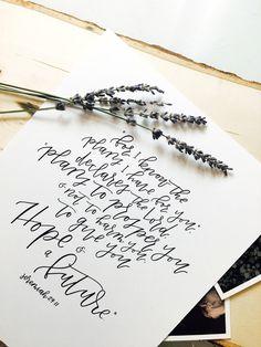 Items similar to Jeremiah Calligraphy Print on Etsy Calligraphy Wallpaper, Calligraphy Print, Jeremiah 29 11 Tattoo, Bible Verses, Scriptures, Pretty Wallpapers, Spiritual Inspiration, Encouragement, James 4