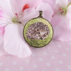 Hedgehog, forest, nature, embroidered necklace , hand embroidery, hand-embroidered necklace, embroidery, pendant