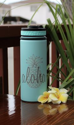808 HI-DR8, Hydro Flask, 18oz, Aloha Pineapple Engraving