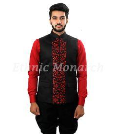 Black Nehru Jacket Laser Cut Work At Front Men Wedding Attire Guest, Wedding Dress Men, Pakistani Wedding Dresses, Wedding Men, Wedding Suits, Modi Jacket, Western Suits, Nehru Jackets, Hunting Shirts