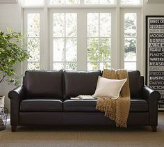 Love this one too. Cameron Roll Arm Leather Sofa #potterybarn