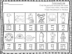 Write the Room - Math - October - color words, number words, patterns, counting $