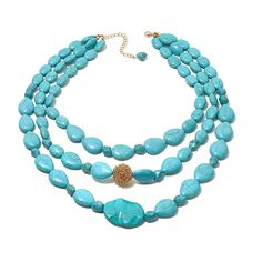 "Rara Avis by Iris Apfel Simulated Turquoise 3-Row 19"" Goldtone Cluster Necklace"