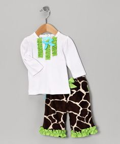 Take a look at this White & Green Giraffe Tee & Pants - Infant & Toddler by Mud Pie on #zulily today!