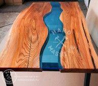 Стол River (Cтол река из стекла) - стол из дерева и стекла в стиле Грега Классена