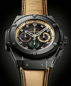 Hublot Usain Bolt Watch...it's here!  Strap is from from same gold leather as Bolt's sprinting shoes!