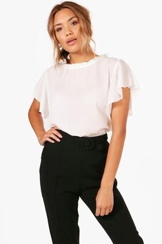 3a424d801513a0 Boohoo Woven Frill Sleeve  amp  Neck Blouse White Size UK 12 LF180 FF 15