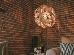 The experts at HGTV.com share instructions on how to make a beehive pendant light using edge banding.