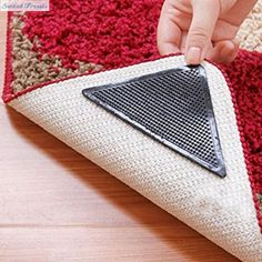 Sweettreats 4pcs Rug Carpet Mat Grippers Non Slip Reusable Washable Silicone Grip