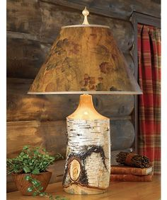 Rustic Lighting ~ Birch Table Lamp Something like this with maybe distressed red shade could work for you