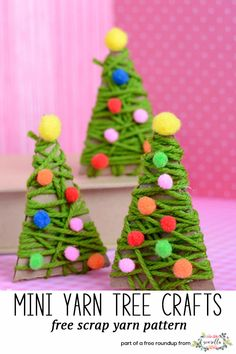 Make yarn wrapped mini trees gift wrap ideas using your leftover scrap yarn from holiday crocheting from my christmas crafts to use up extra yarn roundup!