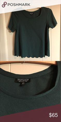 saleTopShop scallop shirt Hunter green. NWOT. Topshop Tops Blouses