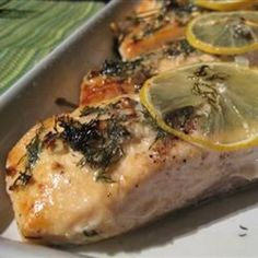 """Salmon with Lemon and Dill   """"This is a wonderful (and easy) recipe for salmon!"""" #recipe #easter"""
