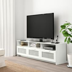 IKEA - LIATORP, TV bench, gray, Smooth-running drawers with drawer stops to keep them in place. The opening at the back allows you to easily gather and organize all wires. Coordinates with other products in the LIATORP series. Hemnes Tv Bank, Ikea Liatorp, Ikea Paint, Ikea Tv Stand, Tv Bench, Ikea Bench, Ikea Inspiration, Muebles Living, Painted Drawers