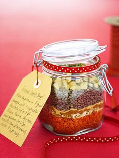 Curried Lentil Soup: Layer dried lentils and seasonings into a mason jar for this one-of-a-kind holiday gift. #MyHoliday #GoodHousekeeping #GiftIdeas