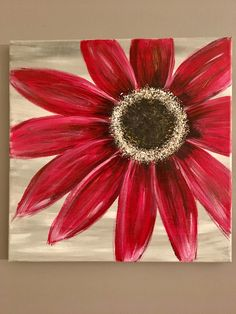 Red Gerber Daisy in acrylic on canvas Flower Painting Canvas, Daisy Painting, Summer Painting, Flower Canvas, Flower Art, Small Canvas Art, Canvas Wall Art, Wallpaper Nature Flowers, Red Artwork