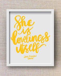 Jane Austen Art Print - Emma Quote, Hand Lettered Literary Art, Little Girl Nursery Artwork