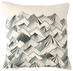 """Mountain Pillow - Natural with Gray 20"""" x 20"""""""