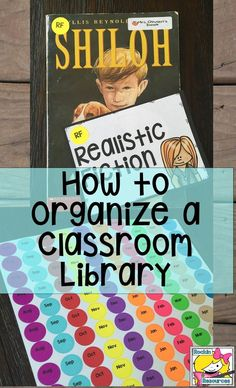 This is how I organise my classroom library. I needed more colours than were available for all my different topics so I used washi tape cut into little rectangles. 4th Grade Classroom, Classroom Setup, Classroom Design, Future Classroom, Classroom Libraries, Classroom Library Labels, Classroom Hacks, Kindergarten Class, Classroom Activities
