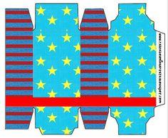 Azul, Amarelo e Vermelho com Estrelas e Listas - Kit Completo com molduras para convites, rótulos para guloseimas, lembrancinhas e imagens!