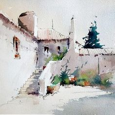 Watercolor by Joao Cabal. Watercolor Painting Techniques, Watercolor Sketch, Watercolor Artists, Watercolor Paintings, Watercolours, Watercolor Architecture, Watercolor Landscape, Landscape Art, Landscape Paintings