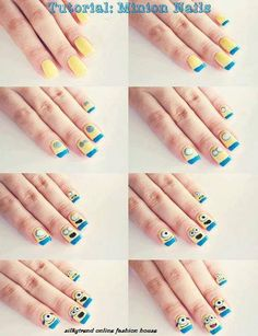 Little Minions nails diy lol every nail is a bit much though, would just do 1 nail, the rest in yellow or blue.