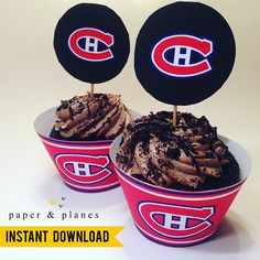 Printable Montreal Canadiens Cupcake Wrappers and Toppers Cupcake Wrappers, Cupcake Cakes, Cupcakes, Unique Party Themes, Lollipop Sticks, Paper Plane, Montreal Canadiens, Party Printables, Planes