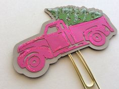 Vintage Truck with a Christmas Tree Paper Clip, Vintage Pickup Truck Plkanner Clip,  Christmas Tree on Truck, Christmas Tree, Pink Truck-02 by DebaDoIt on Etsy