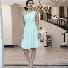 >> Click to Buy << Bruidsmeisjes jurk 2017 new chiffon one shoulder a line mint green bridesmaid dress plus size short dresses for wedding party #Affiliate