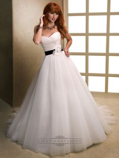 Asymmetrical Ruched Cross Sweetheart Ball Gown Wedding Dresses with Flower Belt