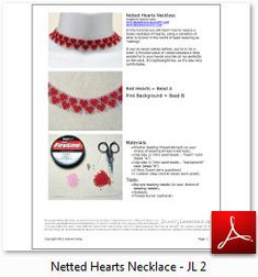Instant Download Beading Pattern Seed Beaded Necklace Step by Step Tutorial Netting Netted Hearts Necklace Choker Toho Seed Instructions from BeadingPatterns4U on Etsy Studio Seed Bead Necklace, Seed Beads, Beaded Necklace, Beading Needles, Close Up Photos, Bead Weaving, Beading Patterns, Colorful Backgrounds, Seeds