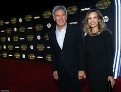 Harrison Ford and his wife Calista Flockhart at the Hollywood premiere for Star Wars: The Force Awakens