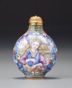 A Beijing enamel European-subject snuff bottle Imperial, palace workshops, 1736–1760, Qianlong blue-enamel mark and of the period