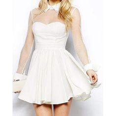 Stylish Flat Collar Long Sleeve Mesh Splicing Ruffled Dress For Women, WHITE, XS in Chiffon Dresses | DressLily.com