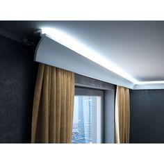 Curtain Styles, Curtain Designs, Cove Lighting, Lighting Design, Ceiling Design Living Room, Living Room Designs, Cornice Design, Ceiling Curtains, Plafond Design