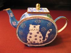 """Charlotte di Vita """"Flower Power"""" miniature enamel teapot - """"Big Cats, Little Cats And Their Friends"""" collection"""