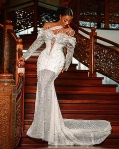Elegant Dresses, Nice Dresses, Formal Dresses, Wedding Dress Sleeves, Wedding Gowns, Aso Ebi Styles, African Lace, Latest Dress, White Outfits