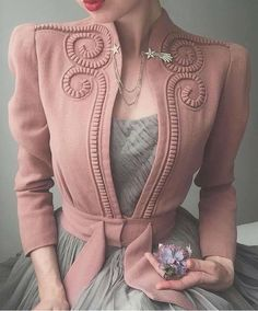 onight's outfit 🕊 Late dusty pink swirly jacket and whisper grey ballet dress. Worn with shooting star brooch and flower 🥀✨ . 40s Fashion, Look Fashion, Hijab Fashion, Fashion Dresses, Vintage Fashion, Womens Fashion, Fashion Design, Fashion Trends, Fashion Lookbook