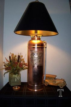 vintage fire extinguisher Lamp…oh my goodness I bought one of these for my brother, i am totally doing this! Vintage Lighting, Cool Lighting, Firefighter Decor, Fire Equipment, I Love Lamp, Rustic Lamps, Steampunk Lamp, Pipe Lamp, Unique Lamps