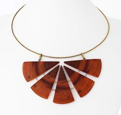 Flower necklace  wood necklace  statement choker  brass