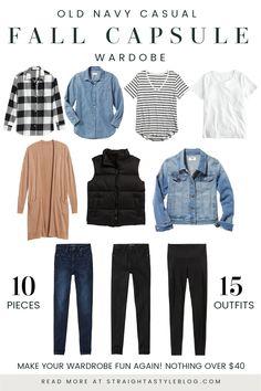 Capsule Wardrobe Casual, Capsule Outfits, Fashion Capsule, Fall Outfits, Fall Wardrobe Essentials, 10 Piece Wardrobe, Simple Wardrobe, Mom Wardrobe, Teacher Wardrobe